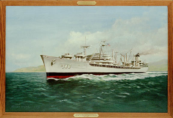 Painting by Huntzinger, 2003, Presented to the City of Ponchatoula, LA by the USS Ponchatoula Shipmates Association.  Copyrighted